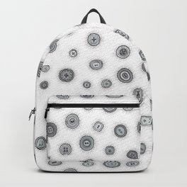 Hand Drawn Buttons Black and White Backpack