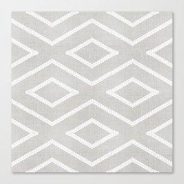 Stitch Diamond Tribal Print in Grey Canvas Print