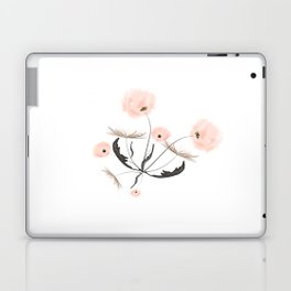 Sweet dandelions in pink - Floral Watercolor illustration with Glitter Laptop & iPad Skin
