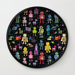 Robots in Space - on black Wall Clock