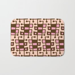 Mid Century Modern Abstract 212 Pink and Brown Bath Mat