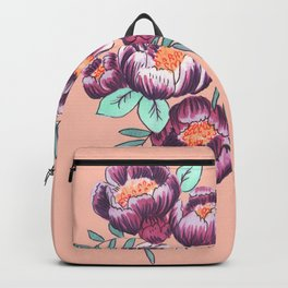 Peach and Purple Floral Backpack