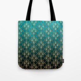 Vintage green faux gold glitter quatrefoil Hamsa Tote Bag