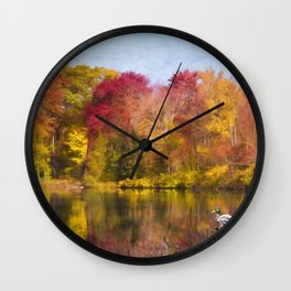 Autumn Pond With Mallard Duck Wall Clock