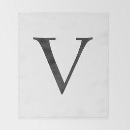 Letter V Initial Monogram Black and White Throw Blanket