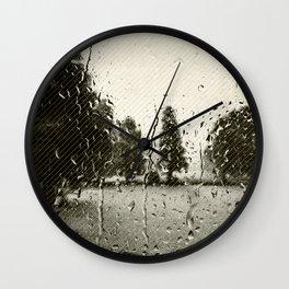 Cypress in the Rain Wall Clock