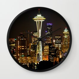 Seattle Space Needle & Cityscape Wall Clock