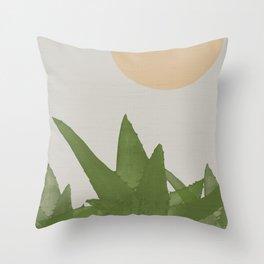 Aloe and moon Throw Pillow