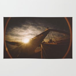 Golden sunset, bridge and birds Rug