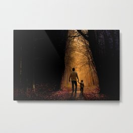 Father and Son in the Woods Metal Print