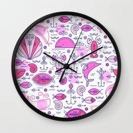 Sea pattern no 2 (pink) Wall Clock