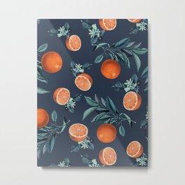 Lemon and Leaf Pattern VI Metal Print