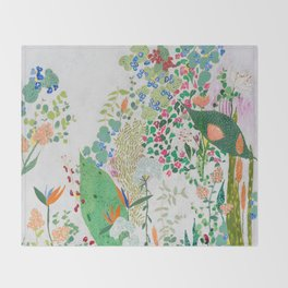 Painterly Floral Jungle on Pink and White Throw Blanket
