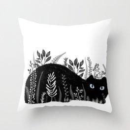 Garden Cat Black And White Throw Pillow