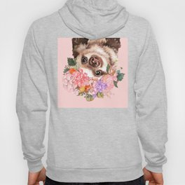 Baby Sloth with Flowers Crown in Pink Hoody