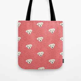 Puppy Love Red Heart Pattern Tote Bag
