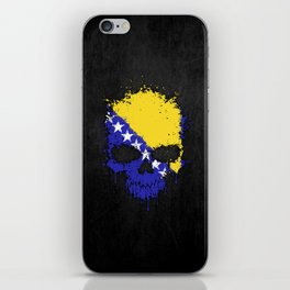 Flag of Bosnia - Herzegovina on a Chaotic Splatter Skull iPhone Skin
