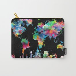 world map city skyline 3 Carry-All Pouch