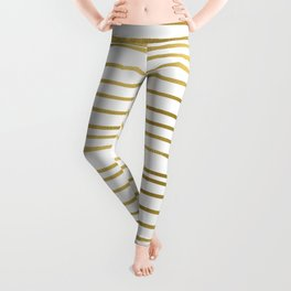 Small simply uneven luxury gold glitter stripes on clear white - horizontal pattern Leggings
