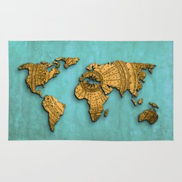 Vintage World Map on Jade Dragon Teal Rug