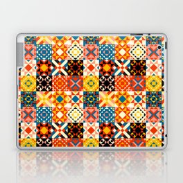 Maroccan tiles pattern with red an blue no2 Laptop & iPad Skin