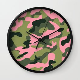 Green & Pink Camo Wall Clock