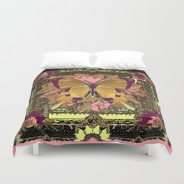 Western Style Swallow Tail Butterfly in pinks and Greenish Black Designs Duvet Cover