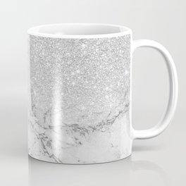 Modern faux grey silver glitter ombre white marble Coffee Mug
