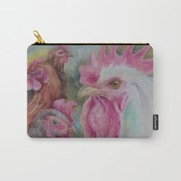 Rooster & Hen Chickens Painting Country style decor Vegan Birds lover gift Carry-All Pouch