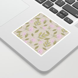 Vintage Rose Illustration // Hand Drawn Botanicals, Vintage Flowers and Leaves // Old Rose and Green Sticker
