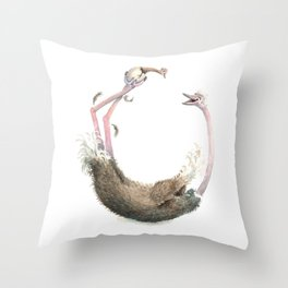 O is for Ostrich! from The Laugh-A-Bit Alphabet Collection by BirdsFlyOver Throw Pillow