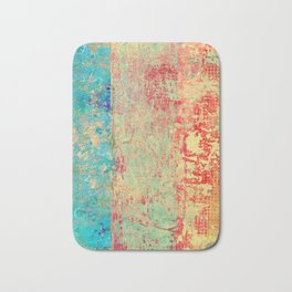 Brilliant Encounter, Abstract Art Turquoise Red Bath Mat
