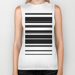 Black And White Stripes Biker Tank