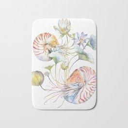 Nautilus and Lotus Surreal Watercolor Sea Animal Botanical Design Bath Mat