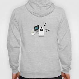 Chilling Napstablook With Laptop and Coffee Undertale Pixel Art Cute Hoody