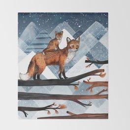 Fox Wood Throw Blanket