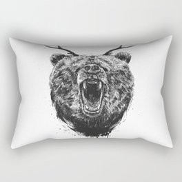 Angry bear with antlers Rectangular Pillow