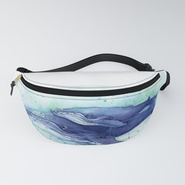 Humpback Whale Watercolor Mom and Baby Painting Whales Sea Creatures Fanny Pack