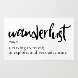 Wanderlust Definition - Minimalist Black Type Rug