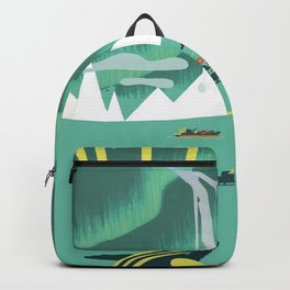 Vintage Mid Century Modern Iceland Scandinavian Travel Poster Ocean Whale Winter Village Backpack