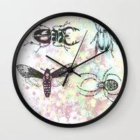 bugs Wall Clocks featuring Bugs! by Maria Enache