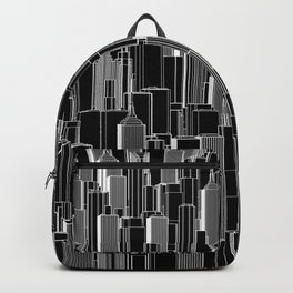 Tall city B&W inverted / Lineart city pattern Backpack