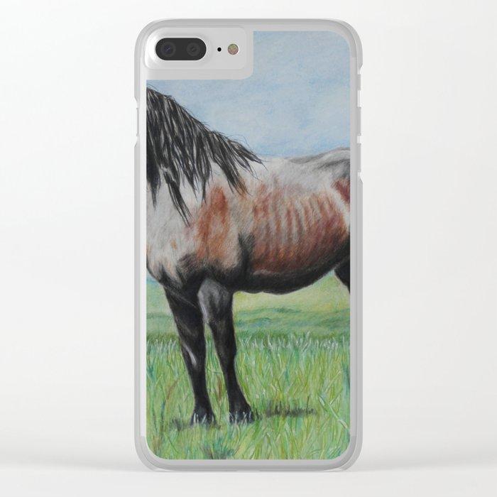 Snowy The Nokota Horse Clear iPhone Case