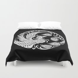 Traditional White and Black Chinese Phoenix Circle Duvet Cover