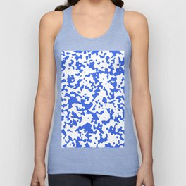 Spots - White and Royal Blue Unisex Tank Top