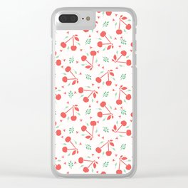 Cherry fruit seamless vector pattern background. Clear iPhone Case