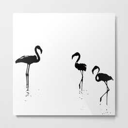 We Are The Three Flamingos Silhouette In Black Metal Print