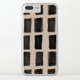 Brush Strokes Vertical Lines Black on Nude Clear iPhone Case