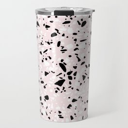 'Speckle Party' Blush Pink Black White Dots Speckle Terrazzo Pattern Travel Mug