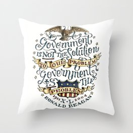 small government, larger freedom Throw Pillow